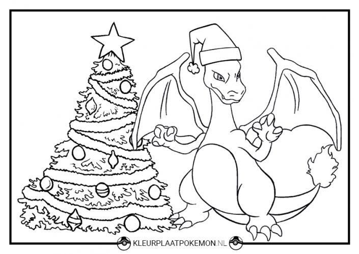 Charizard kerst kleurplaat