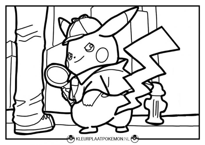 detective pikachu kleurplaat