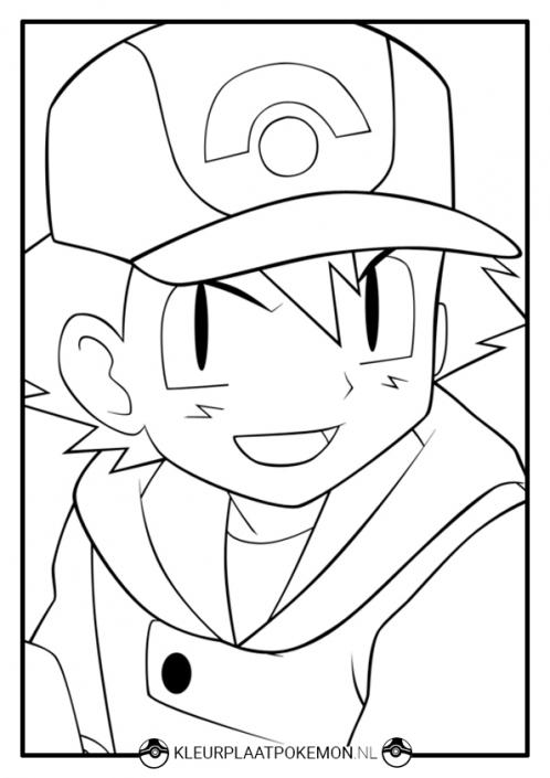 Kleurplaat Ash Ketchum van Pokemon