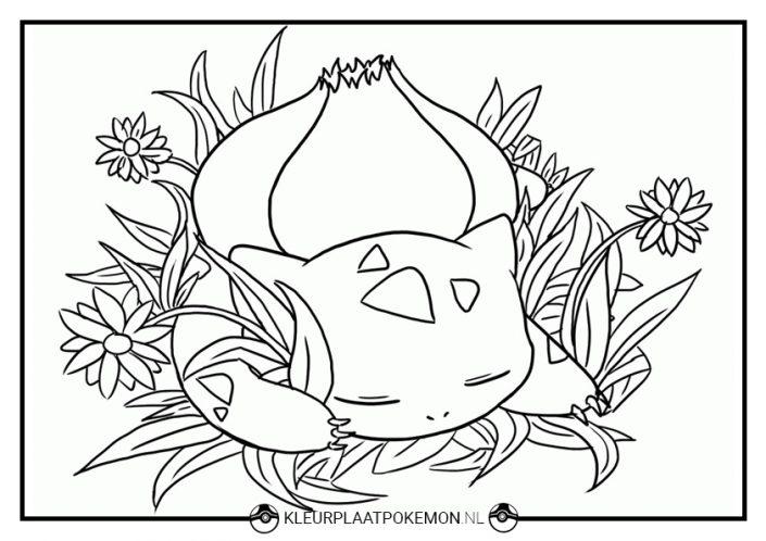 Kleurplaat Bulbasaur slapen