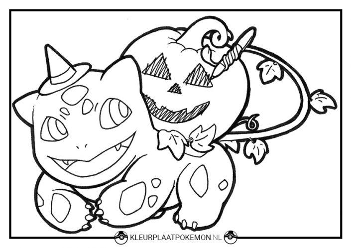 Kleurplaat Bulbasaur Halloween