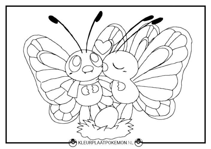 Kleurplaat Butterfree liefde