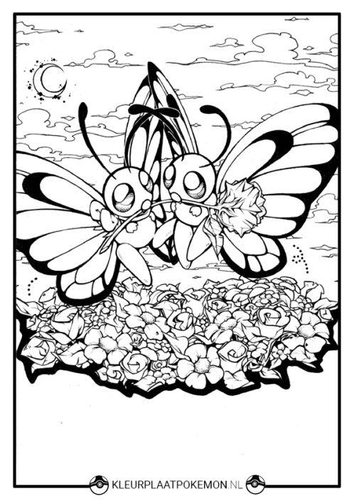 Kleurplaat Butterfree vlinders