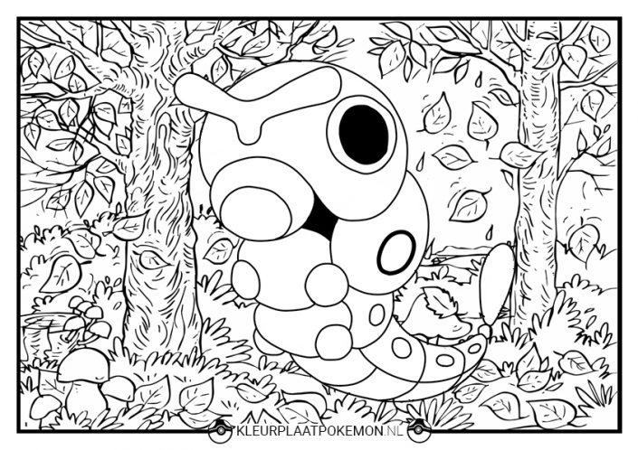 Kleurplaat Caterpie in het bos