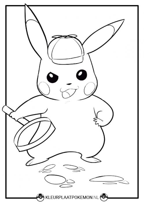 kleurplaat detective pikachu