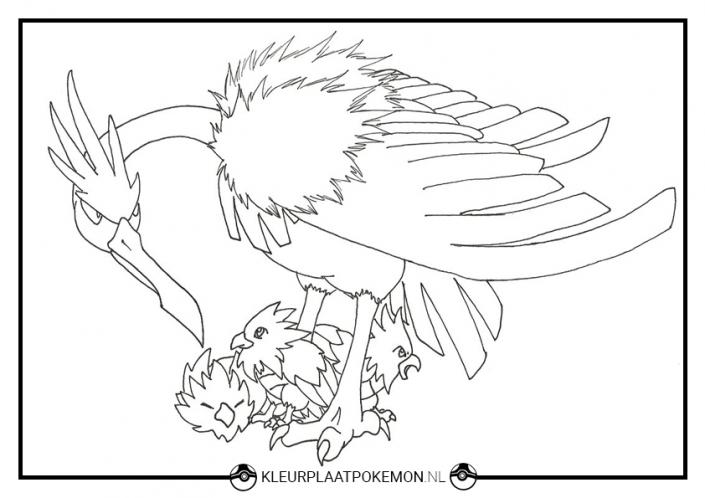 Kleurplaat Fearow pokemon