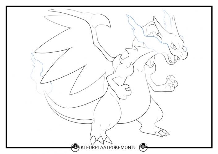 kleurplaat mega charizard x pokemon