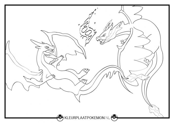 kleurplaat mega charizard x y pokemon