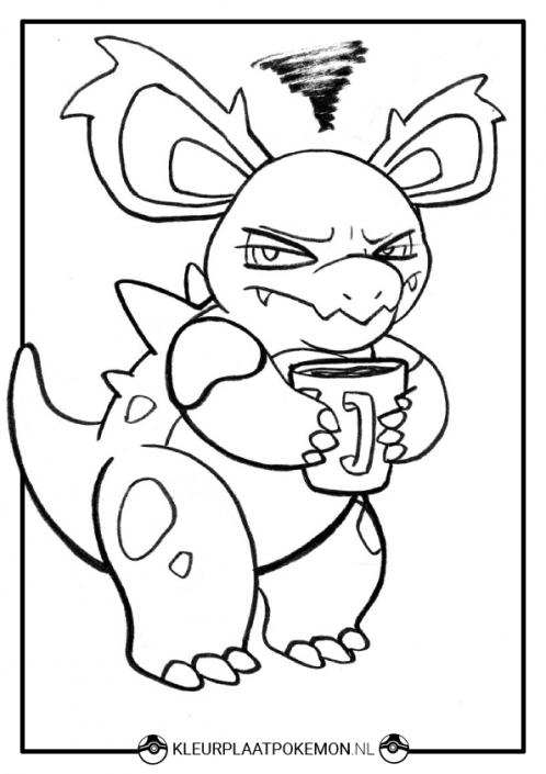kleurplaat nidorina pokemon koffie
