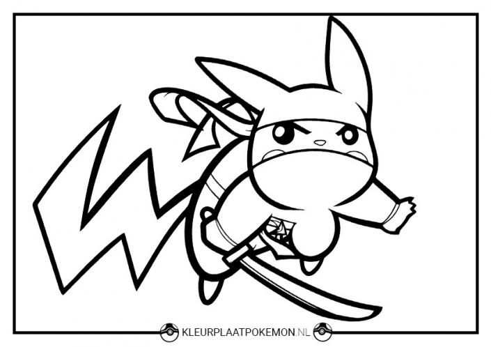 Kleurplaat Pikachu als ninja
