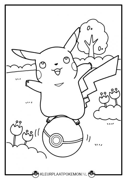 Kleurplaat Pikachu met pokebal