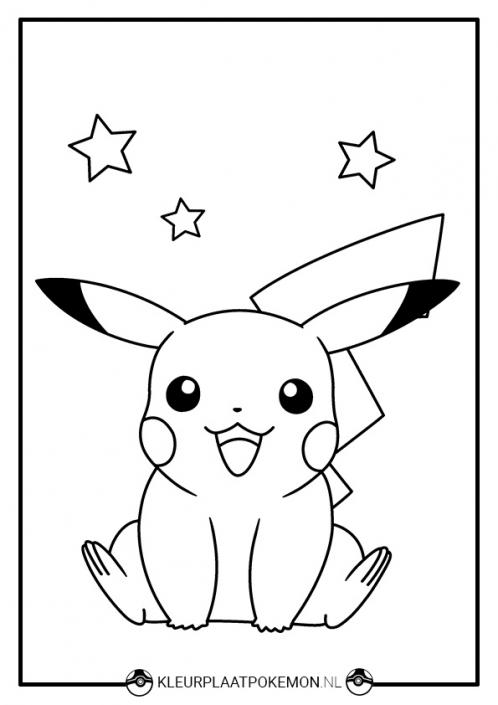 Kleurplaat Pikachu met sterren