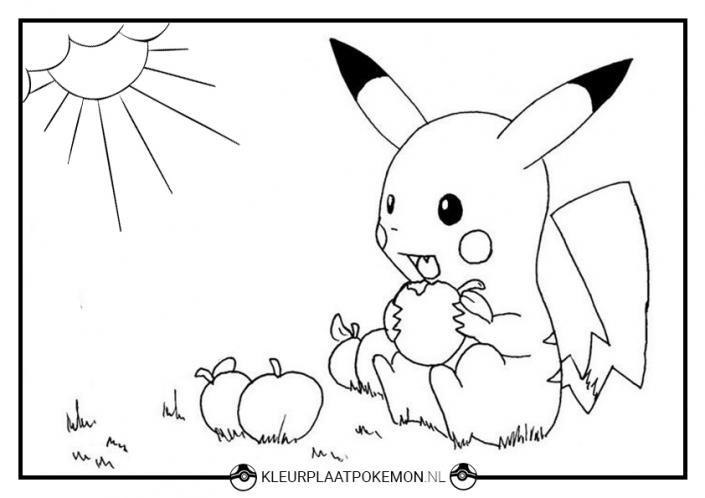 Kleurplaat Pikachu eet appels