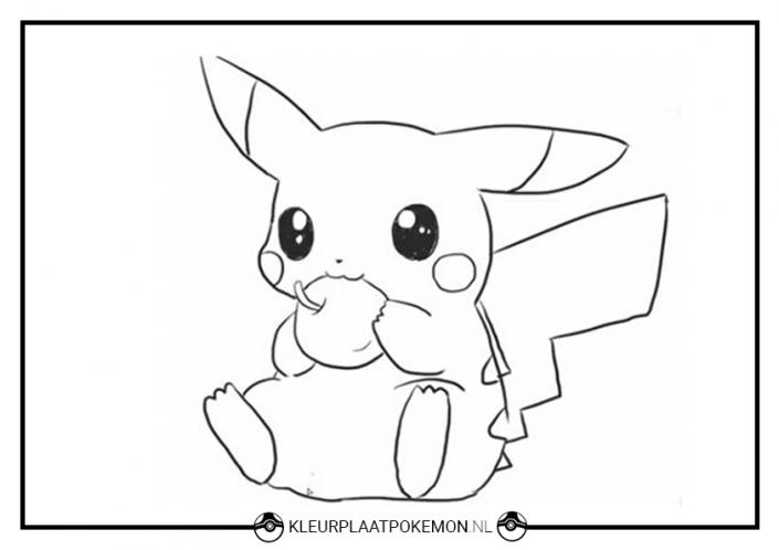 Kleurplaat Pikachu eet appel