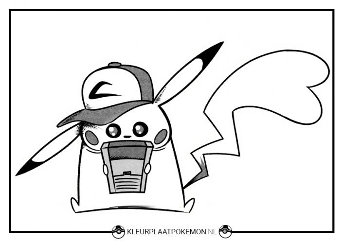 Kleurplaat Pikachu met gameboy