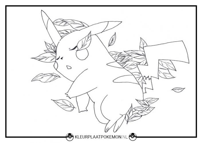 Kleurplaat Pikachu slaapt