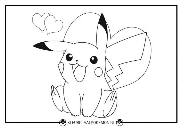 Kleurplaat Pikachu valentijnsdag