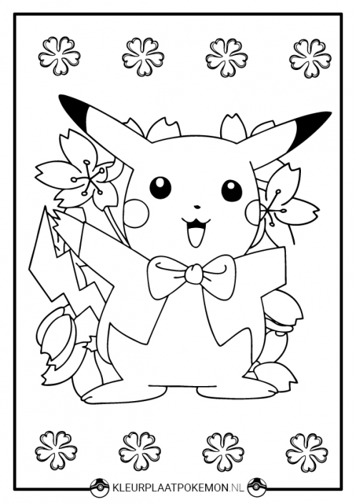 Kleurplaat Pikachu verjaardag