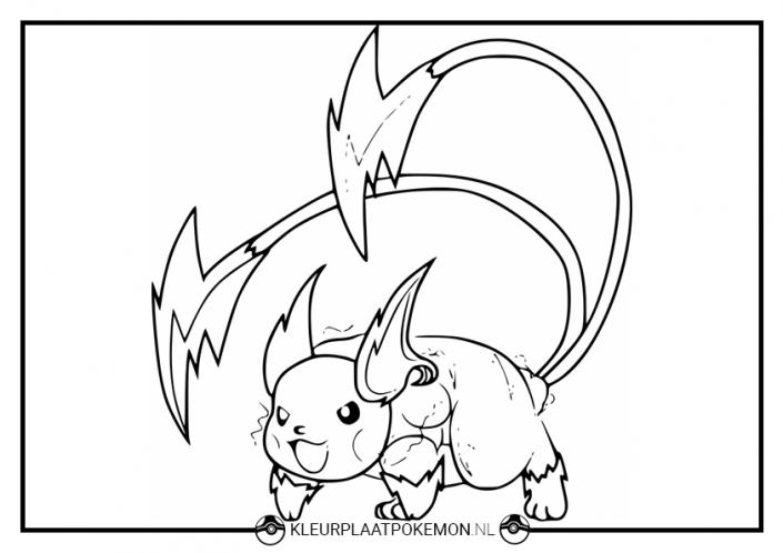 Kleurplaat van Raichu uit Pokémon