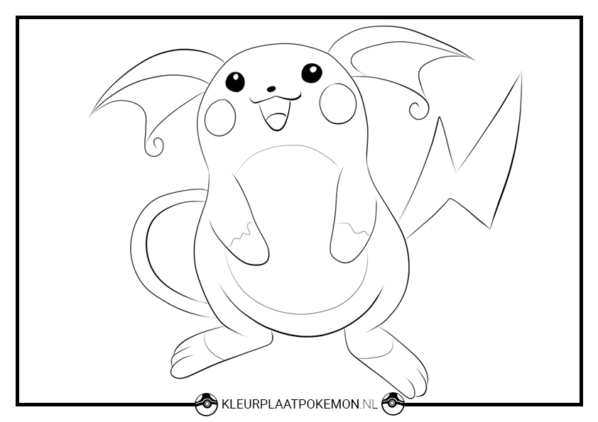 Pokemon Kleurplaten Raichu.Raichu Kleurplaten Downloaden Kleurplaat Pokemon