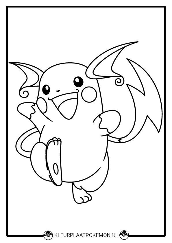 Kleurplaten Pokemon Printen.Raichu Kleurplaten Downloaden Kleurplaat Pokemon