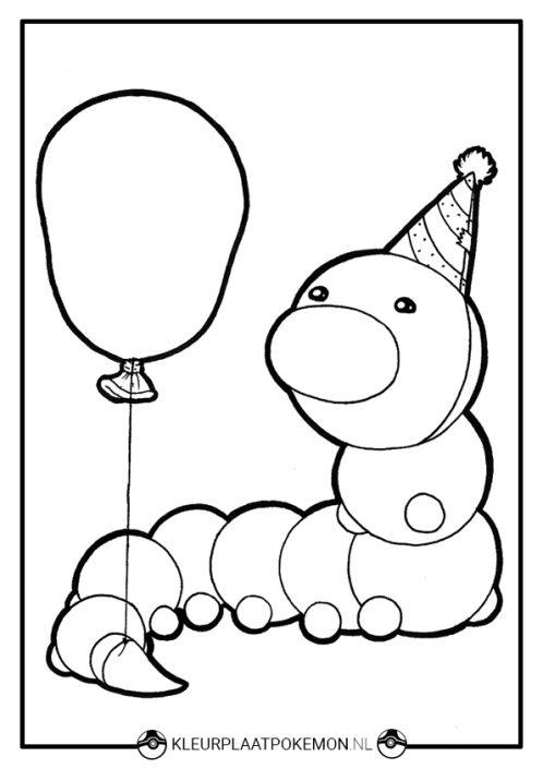 Kleurplaat Weedle met ballon