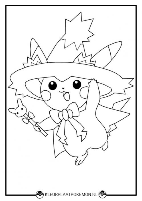 Pikachu kleurplaat Halloween